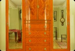 Harrods satinwood triple wardrobe, c1910