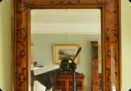 19thC marquetry cushion frame mirror