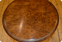 Victorian burr oak and walnut wine table