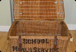 Large school meals wicker basket
