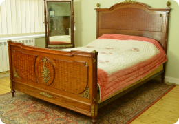 French mahogany & ormolu double bed, C1900