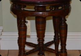 Victorian walnut piano stool, height adjustable