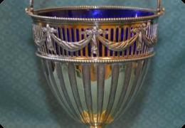 Super antique pierced and engraved silver gilt sugar basket, London 1904