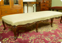 Victorian walnut upholstered double stool