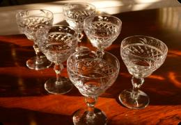 Set of 6 Edwardian wine glasses