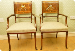 Lamb of Manchester regency revival pair armchairs, C1880