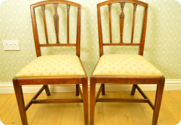 Pair Georgian mahogany dining chairs, C1800