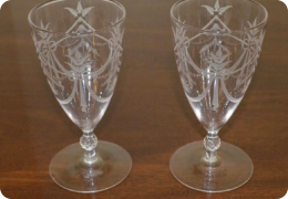 Pair Edwardian wine glasses