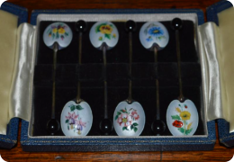 Boxed set 6 silver & enamel coffee spoons