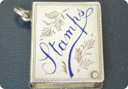 Sterling silver stamp case, 1908