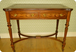 Rosewood writing table, converts to card table, C1880