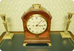 George III mahogany English pad cased bracket clock, Finer & Nowland. Rare 7 inch dial