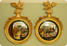 Pair 19th C convex mirrors