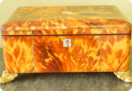 Georgian blonde tortoiseshell workbox or jewellery box