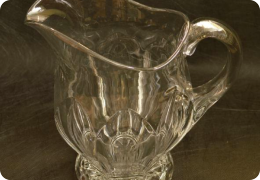 Large pressed glass water jug