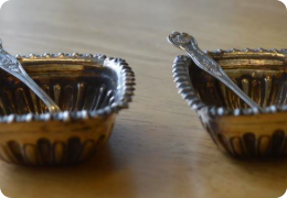 Silver salts with spoons, Birmingham 1899 & 1908