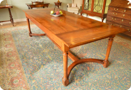 Cherry wood refectory farmhouse large kitchen table, antique
