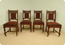 Set of four red walnut antique dining or side chairs, gothic revival