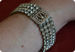 1920s diamante & white metal bracelet