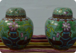 Pair cloisonne ginger jars