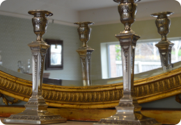 Adams style silver plated candlesticks, Hawksworth, Eyre & co