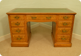Edwardian Burr Walnut Kneehole Desk