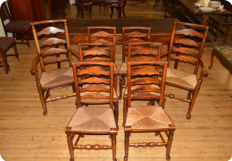 Eight Lancashire Ladder-back Chairs