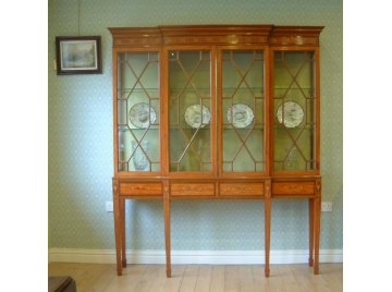 Edwardian satinwood breakfront display/bookcase