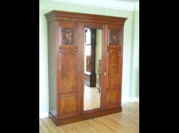 Victorian walnut triple wardrobe