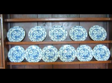 Eleven 18th Century Delft plates