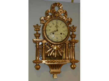 Swedish gilt wood cartel clock