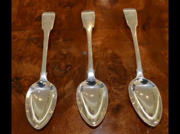 Three George III serving spoons