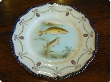 Royal Worcester cabinet plate (common carp)