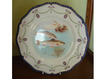 Royal Worcester cabinet plate, fish (Salmon)