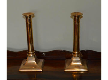 Pair of Georgian square base candlesticks