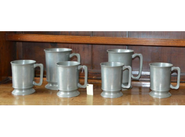 Six matching Victorian pewter tankards