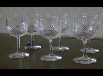 Set of 6 Edwardian cut glass wine glasses