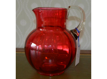 Cranberry glass cordial jug