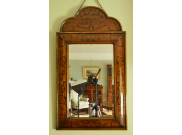 19thC marquetry cushion frame mirror