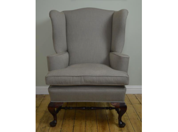 Victorian mahogany wingback armchair, re-upholstered, Linwood Liquorice blue