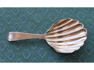Georgian silver bright cut caddy spoon, 1795