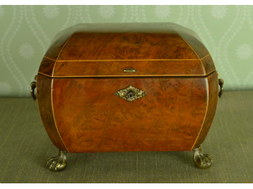 Walnut domed top tobacco caddy, C1900