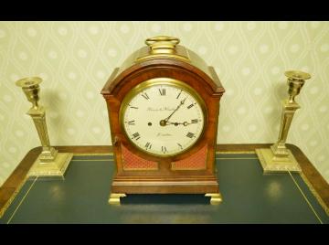George III mahogany English pad cased bracket clock, Finer & Nowland. Rare 7 inch dial