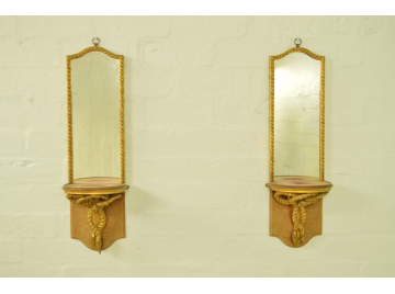 Pair of mirrored candlestick brackets, late victorian, antique