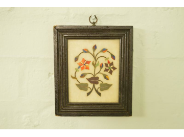 19th Century Pietra Dura inlaid marble tile in frame