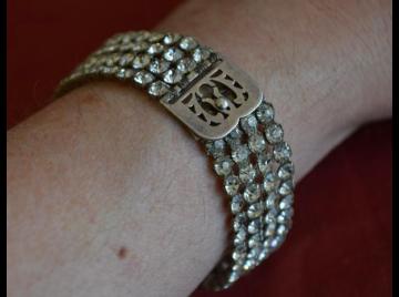 1920s diamante & white metal bracelet