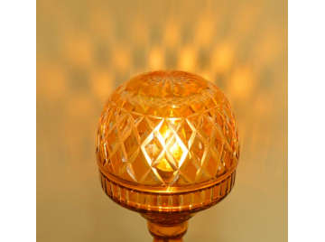 Amber glass mushroom lamp