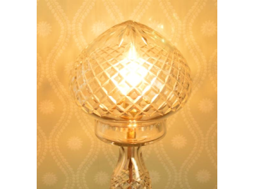 Cut glass mushroom shape table lamp