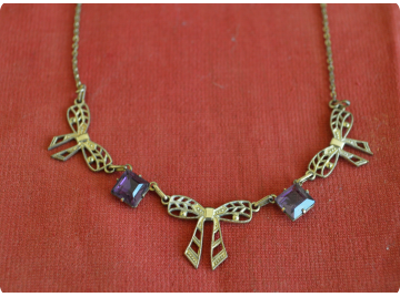 Edwardian rolled gold necklace, amethyst paste