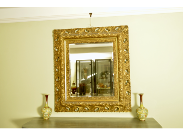 19th Century Gilt lacquered framed mirror